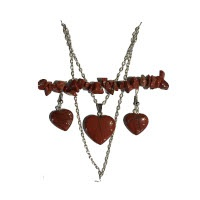 Sada srdíčka - náhrdelník, náušnice a náramek - achát šedý