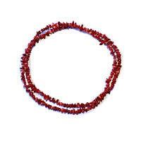 Červený korál - náhrdelník z kamínků 90 cm