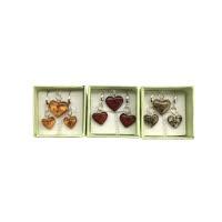 Jantarová srdíčka - náhrdelník a náušnice v krabičce