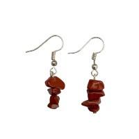Červený jaspis - náušnice z drobných kamínků